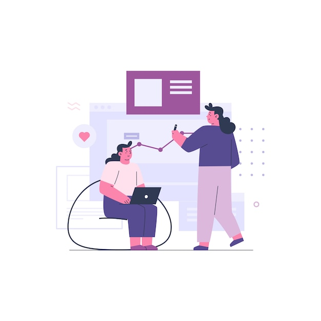 Two business women working together as a team Premium Vector