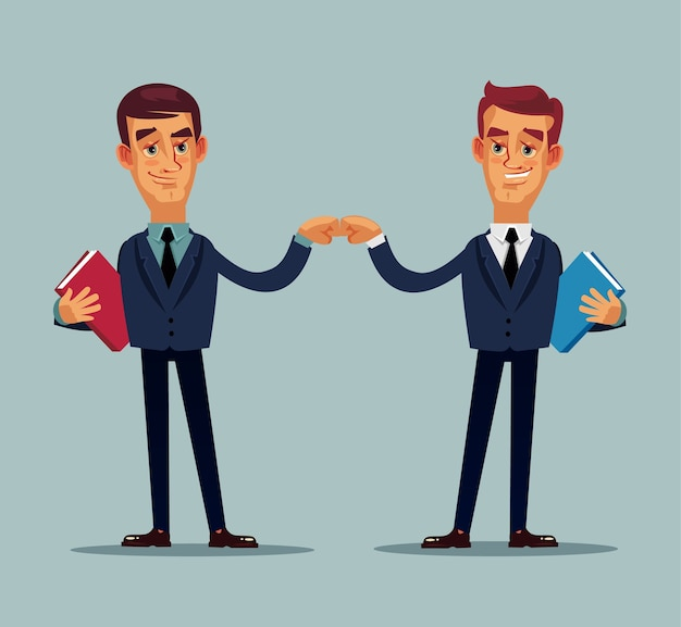 握手する2人の実業家のキャラクター。 Premiumベクター