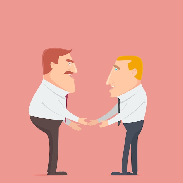 Two businessman deal for business Premium Vector