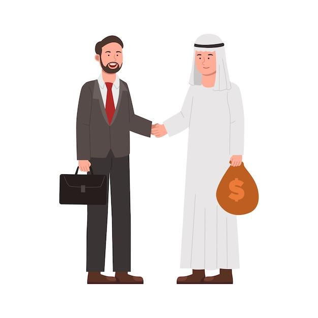 投資漫画のためのお金を扱う2つのビジネスマン Premiumベクター