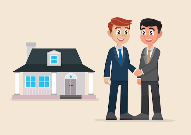 Two businessman handshake deal purchase home. Premium Vector