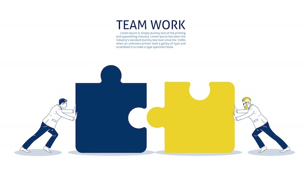 Two businessman pushing two jigsaw pieces. text template Premium Vector