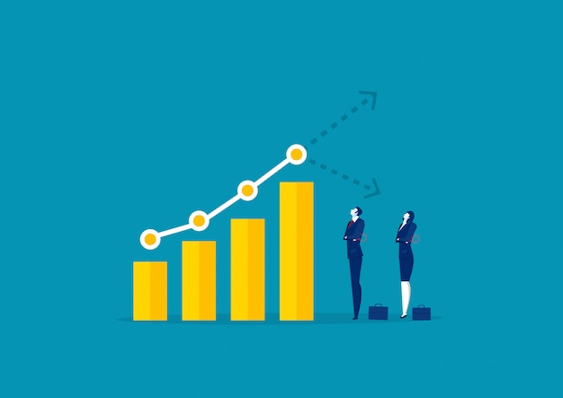 Two businessman watch graph for analyze growth market graph chart stock Premium Vector