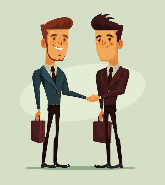 Двое бизнесменов, пожимая руки Premium векторы