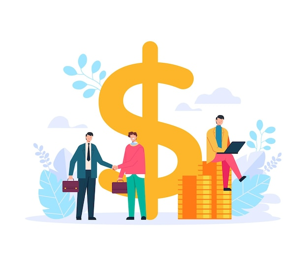 Two businessmen office workers characters shaking hands and making deal contract. finansical invesment concept. vector flat graphic design illustration Premium Vector