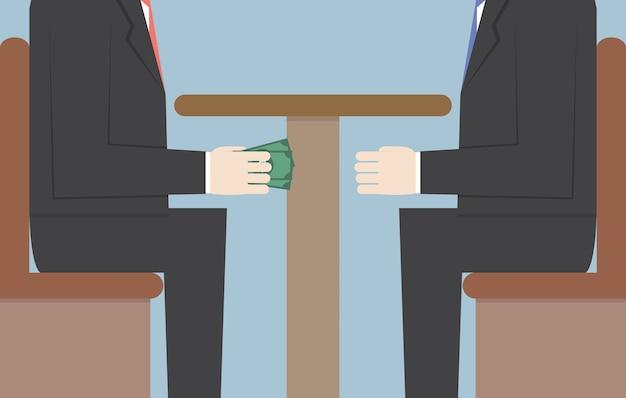 テーブルの下でお金を渡す2つのビジネスマン Premiumベクター