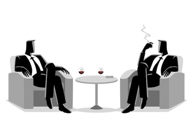 Two businessmen sitting on sofa Premium Vector