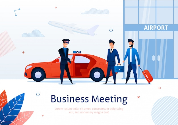 Two businessmen taking taxi car near airport. Premium Vector