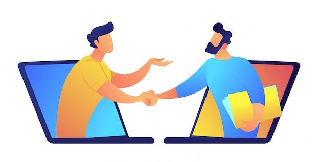 ノートパソコンの画面を通して話している2人のビジネスマンはベクトルイラストです。 Premiumベクター