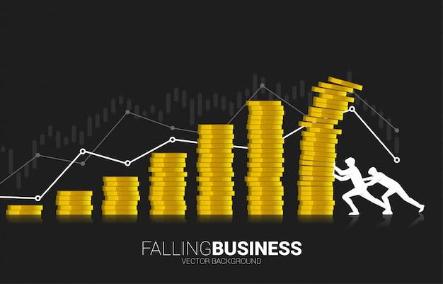 Два бизнесмена пытаются восстановить коллапс падающего графа стопкой монет. Premium векторы