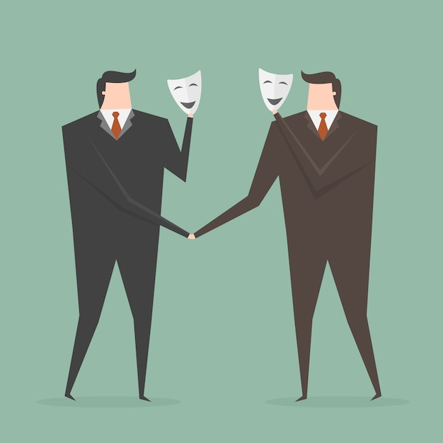 Two businessmen with masks Free Vector