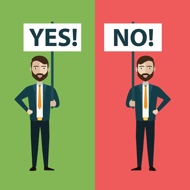 Two businessmen with yes and no banners Premium Vector