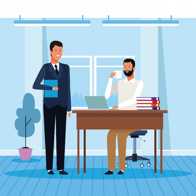 Two businessmen working in the office Premium Vector