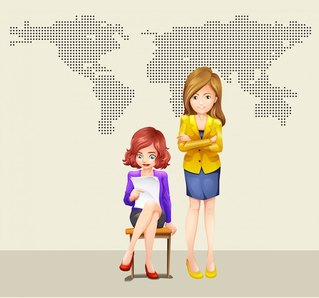 Two businesswomen and world map Free Vector