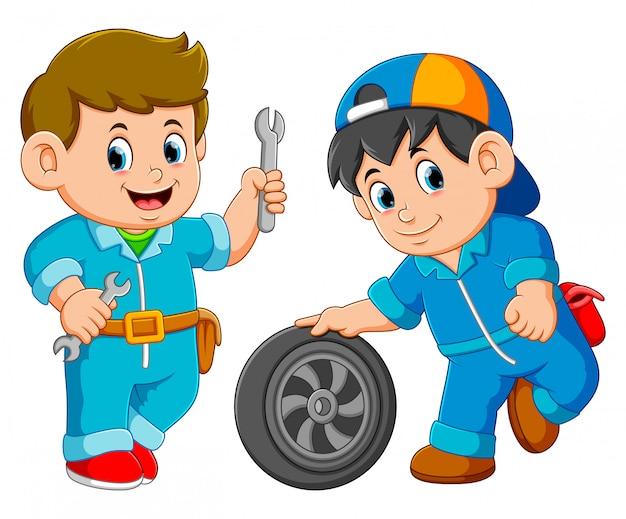 Two car service man wearing uniform with car wheel Premium Vector