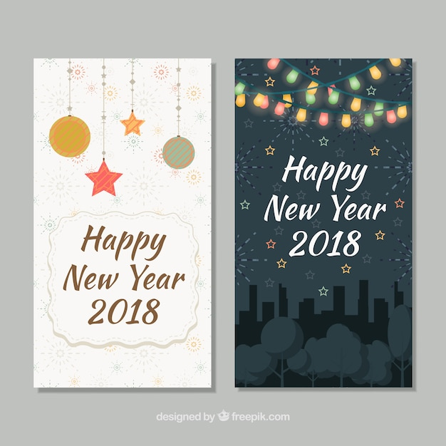 Two cards for happy new year 2018 Vector | Free Download