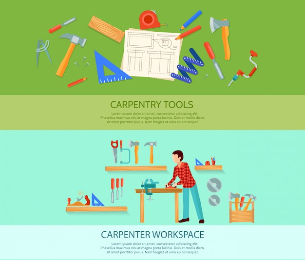 Two carpentry works flat banners set with carpentry tools vector illustration Free Vector