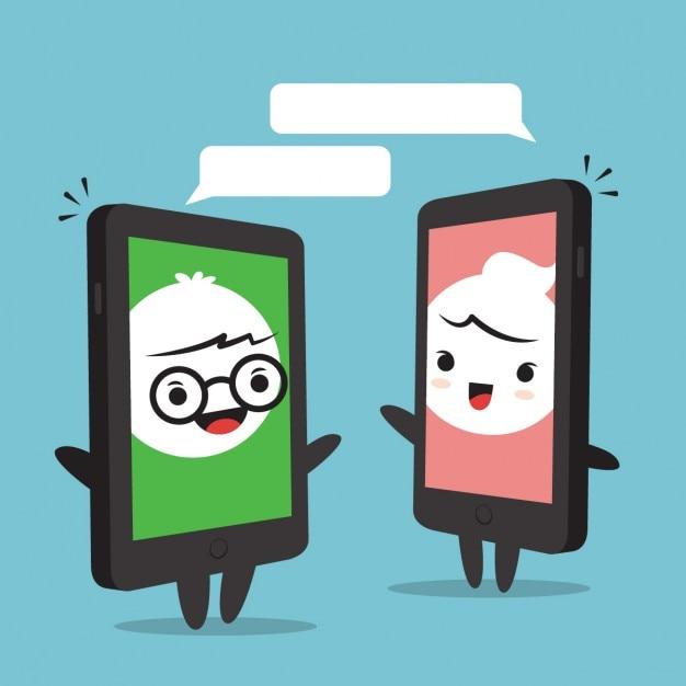 Two cartoon phones
