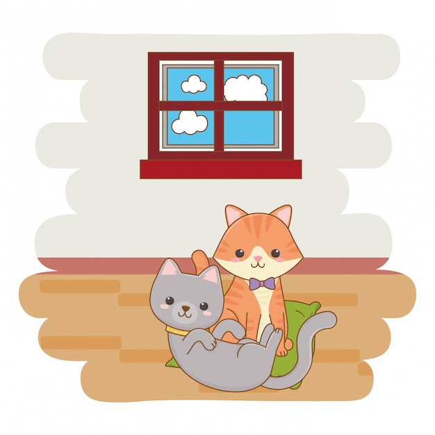 Two cats playing cartoon illustration Premium Vector