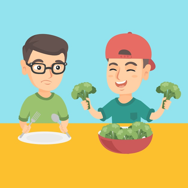 Two caucasian boys eating broccoli. Premium Vector