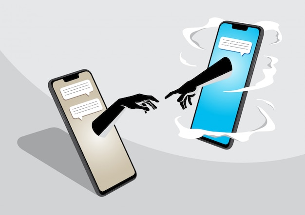 Two cell phone getting in touch Premium Vector