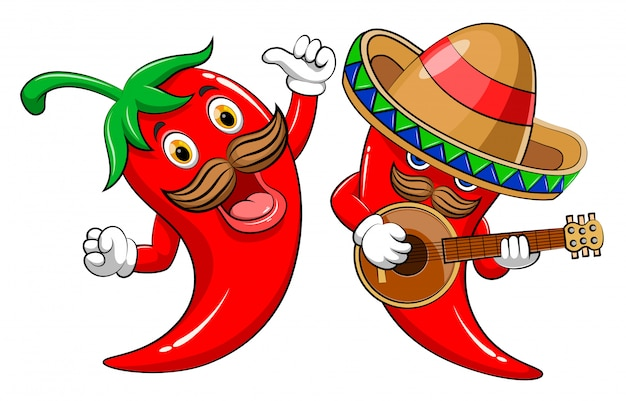 Two character hot chili playing guitar and singing Premium Vector