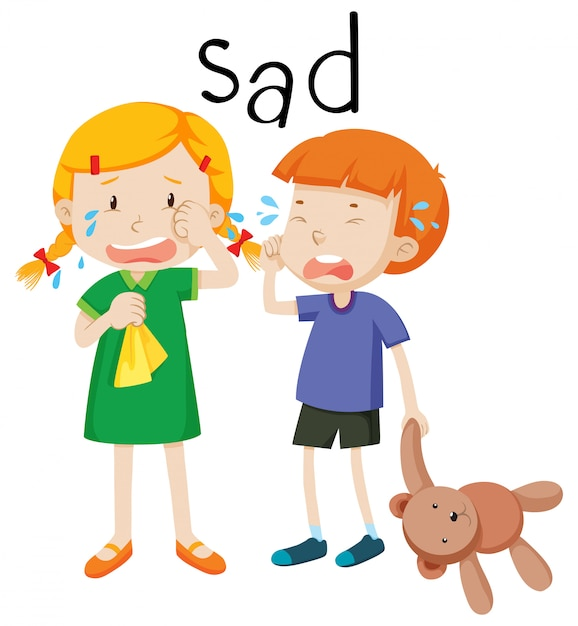 Two child sad emotion Free Vector