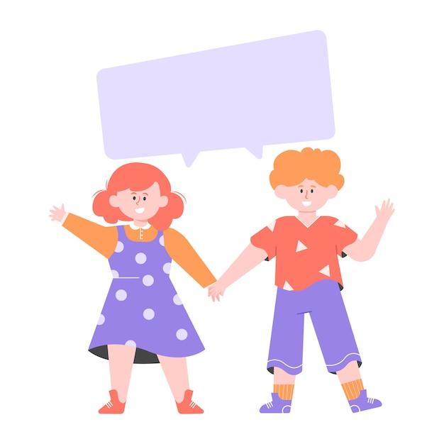 Двое детей стоят рядом. мальчик и девочка держатся за руки. пустой пузырь для текста. плоская иллюстрация. Premium векторы