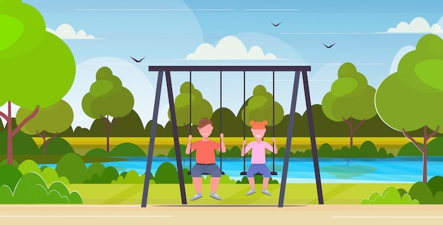 Two children  boy and thin girl sitting on swing unhealthy lifestyle obesity concept kids swinging together having fun outdoor summer park landscape background flat full length horizontal Premium Vector