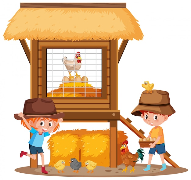 Two children and chickens on the farm Premium Vector