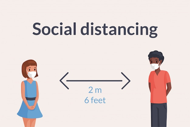 Two children in face masks keep safe social distance in public illustration. Premium Vector