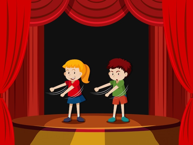Two children on stage Free Vector