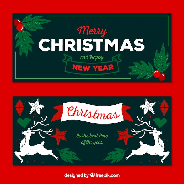 Two christmas banners with christmas decorations Vector | Free ...