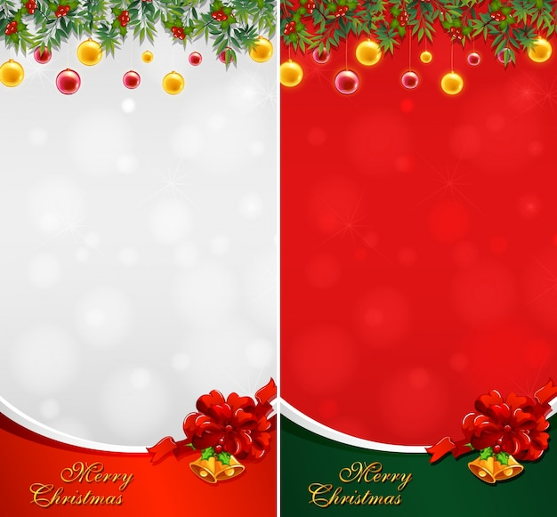 Two christmas card with balls and bells Free Vector