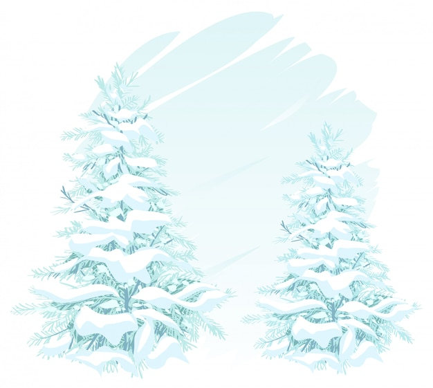 Two christmas trees in snow Premium Vector