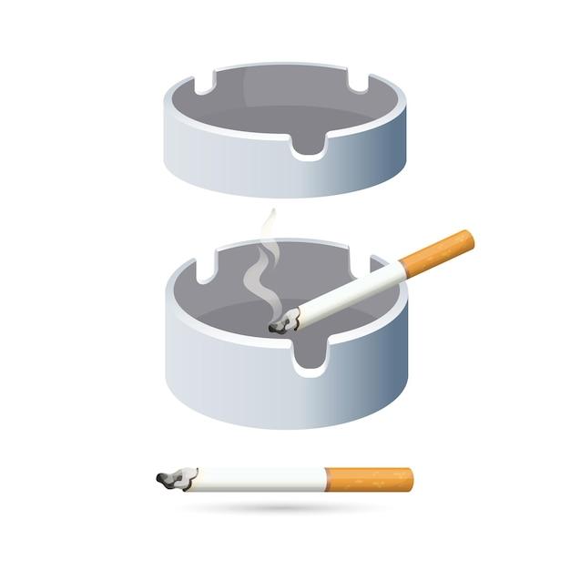 白い背景で隔離の2本のタバコと灰皿。燻製プロセス中に灰を振り落とすための丸い低いもの。喫煙用のものとほこりを集めるためのプレートのイラスト。 Premiumベクター