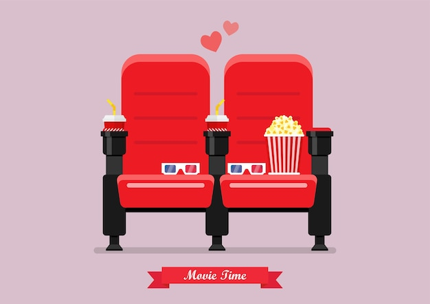 Two cinema seats with popcorn drinks and glasses Premium Vector