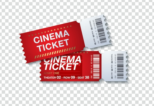 Two cinema tickets isolated on transparent background. realistic front view illustration Premium Vector