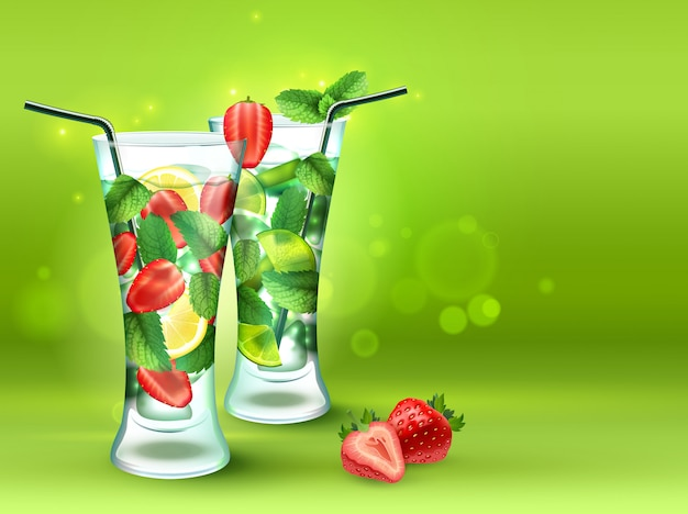 Two cocktails realistic composition Free Vector