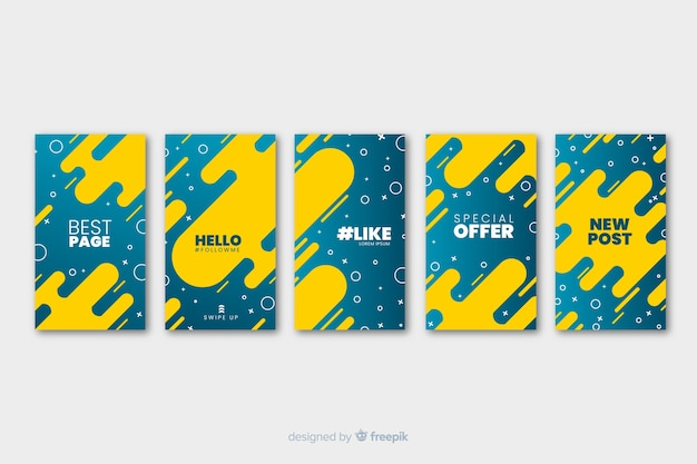 Two colored fluid abstract instagram stories template Free Vector