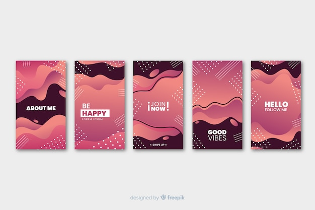 Two colored fluid memphis abstract instagram story template Free Vector