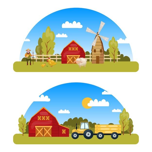 カントリービューとトラクター工場の倉庫などの漫画スタイルの要素を持つ2つのカラフルなファームパノラマ 無料ベクター