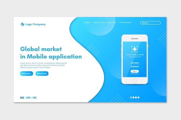 Two colors landing page with smartphones Free Vector