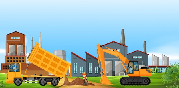 Two construction trucks working in the factory field Free Vector
