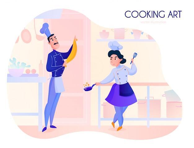 レストランキッチン漫画で働く2人のコック 無料ベクター