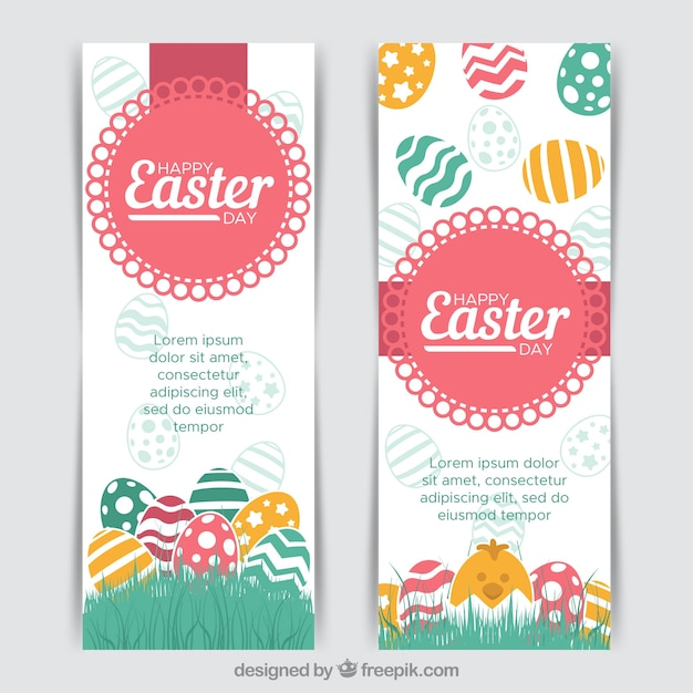 Two creative easter banners Free Vector