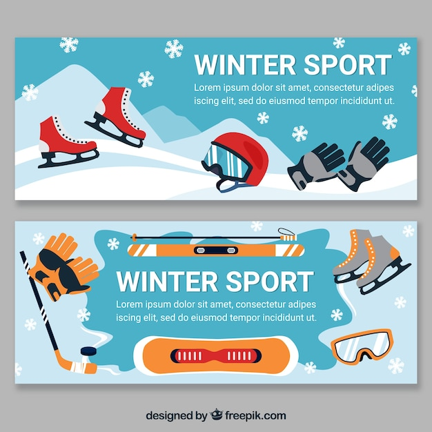 Two creative winter sport banners