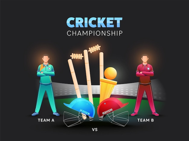 Two cricket players of participate team a vs b with helmets Premium Vector
