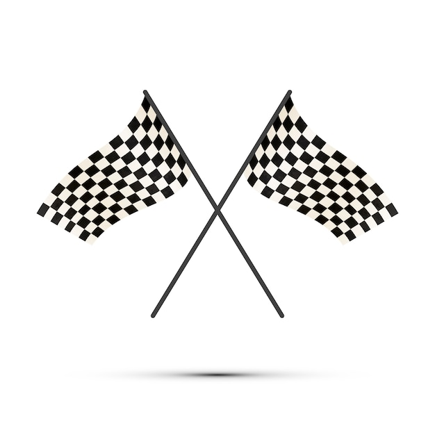 Two crossed finish flags with shadow Premium Vector