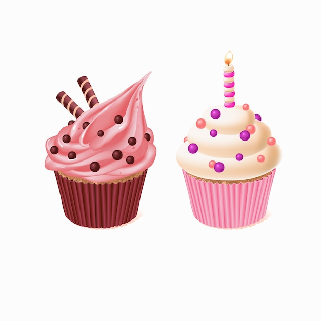 Two cupcakes, tasty cakes for celebration of birthday. sweet pastry with candle Free Vector